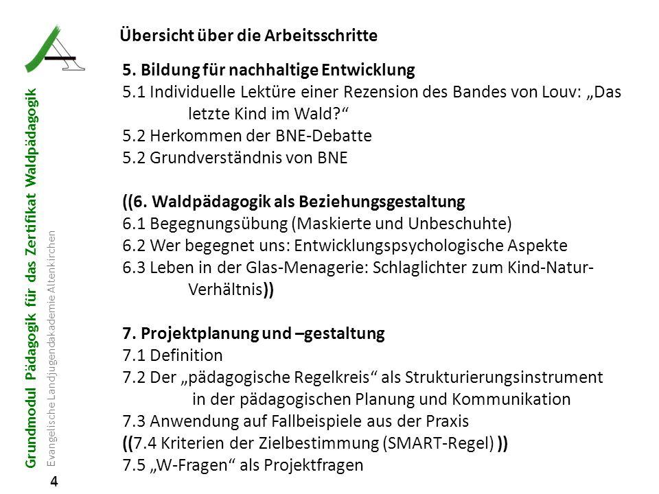 Grundmodul Pädagogik für das Zertifikat Waldpädagogik Evangelische Landjugendakademie Altenkirchen 4 4 Übersicht über die Arbeitsschritte 5. Bildung f