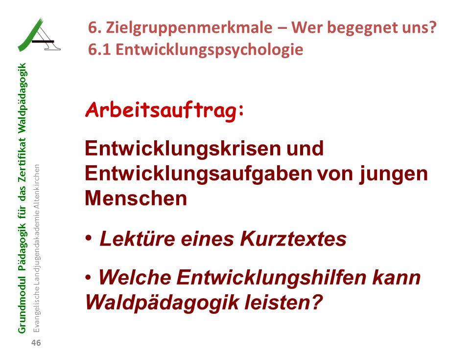 Grundmodul Pädagogik für das Zertifikat Waldpädagogik Evangelische Landjugendakademie Altenkirchen 46 Arbeitsauftrag: Entwicklungskrisen und Entwicklu