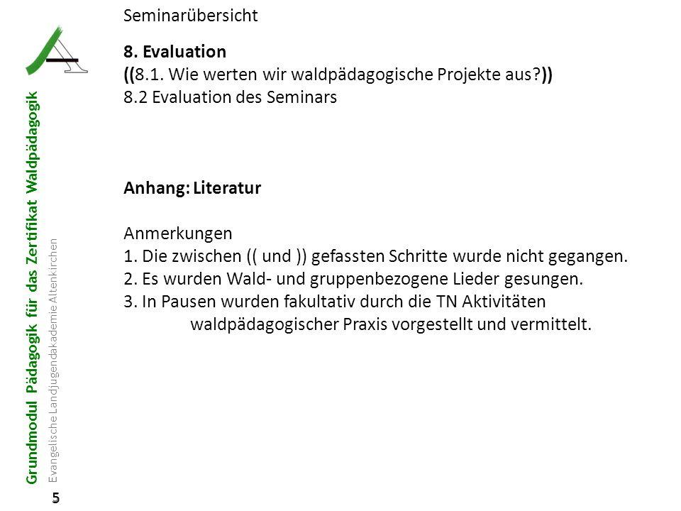 Grundmodul Pädagogik für das Zertifikat Waldpädagogik Evangelische Landjugendakademie Altenkirchen 5 5 Seminarübersicht 8. Evaluation ((8.1. Wie werte