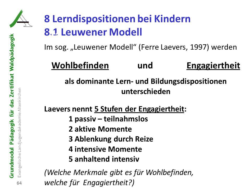 Grundmodul Pädagogik für das Zertifikat Waldpädagogik Evangelische Landjugendakademie Altenkirchen 64 R B D W P 8 Lerndispositionen bei Kindern 8.1 Le