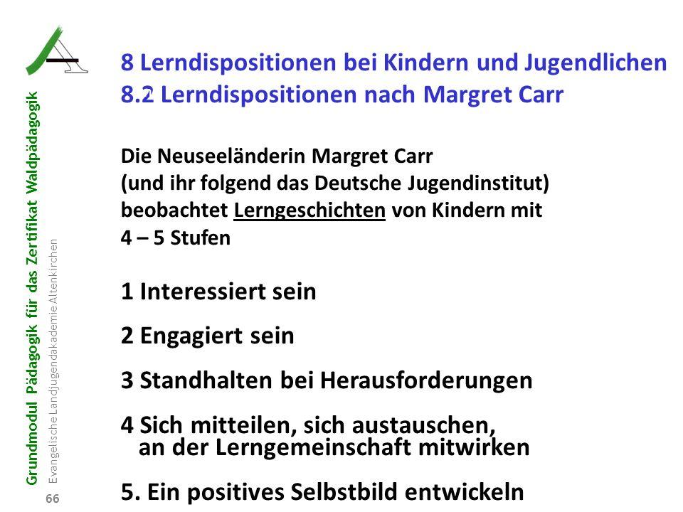 Grundmodul Pädagogik für das Zertifikat Waldpädagogik Evangelische Landjugendakademie Altenkirchen 66 R B D W P 8 Lerndispositionen bei Kindern und Ju