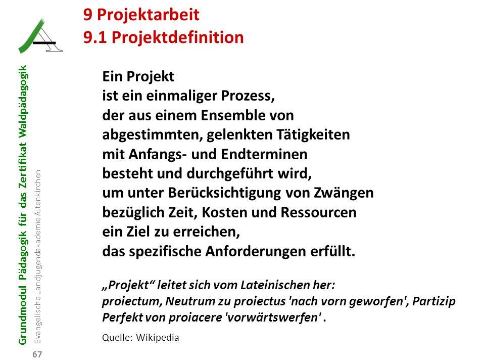 Grundmodul Pädagogik für das Zertifikat Waldpädagogik Evangelische Landjugendakademie Altenkirchen 67 R B D W P 9 Projektarbeit 9.1 Projektdefinition