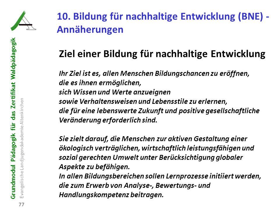 Grundmodul Pädagogik für das Zertifikat Waldpädagogik Evangelische Landjugendakademie Altenkirchen 77 10. Bildung für nachhaltige Entwicklung (BNE) -
