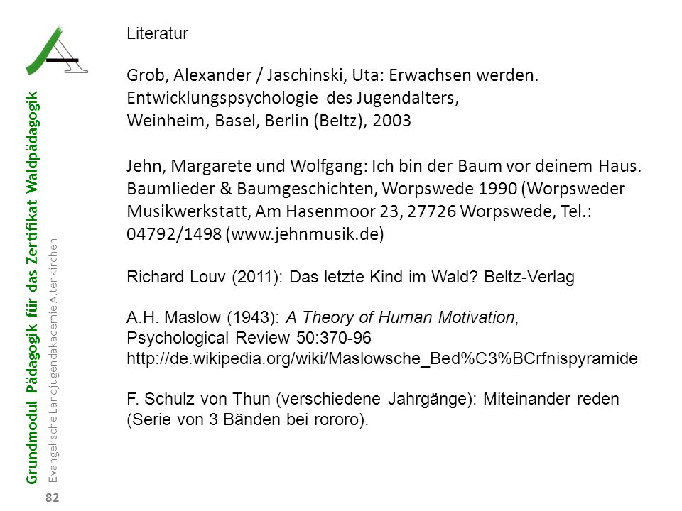 Grundmodul Pädagogik für das Zertifikat Waldpädagogik Evangelische Landjugendakademie Altenkirchen 82 Literatur Grob, Alexander / Jaschinski, Uta: Erw