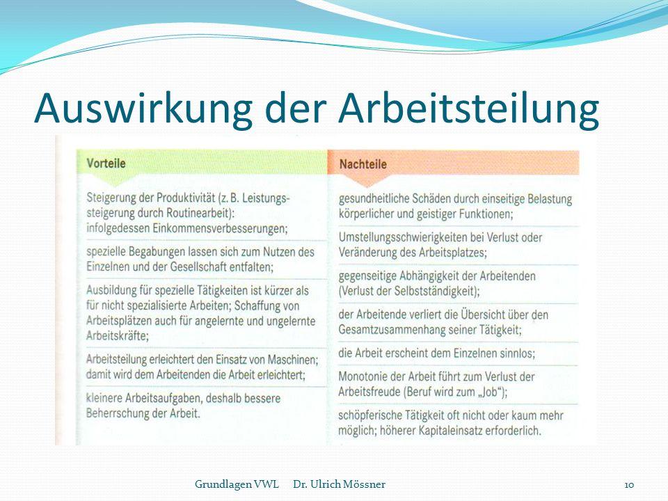 Auswirkung der Arbeitsteilung 10Grundlagen VWL Dr. Ulrich Mössner