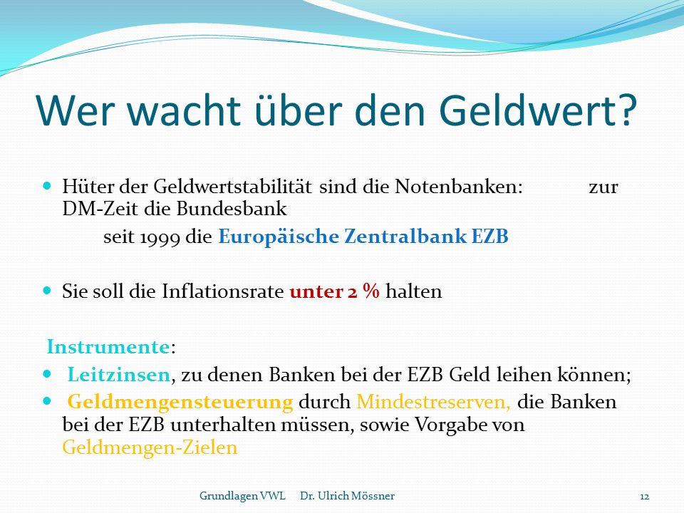 Wer wacht über den Geldwert? Hüter der Geldwertstabilität sind die Notenbanken: zur DM-Zeit die Bundesbank seit 1999 die Europäische Zentralbank EZB S