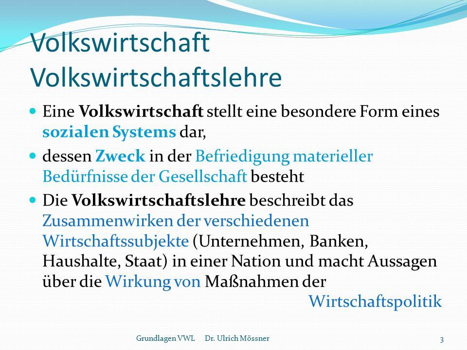 Einfacher volkswirtschaftlicher Kreislauf Grundlagen VWL Dr. Ulrich Mössner4