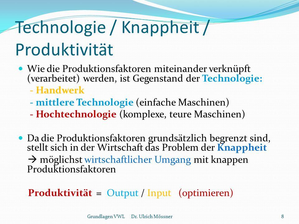 Technologie / Knappheit / Produktivität Wie die Produktionsfaktoren miteinander verknüpft (verarbeitet) werden, ist Gegenstand der Technologie: - Hand