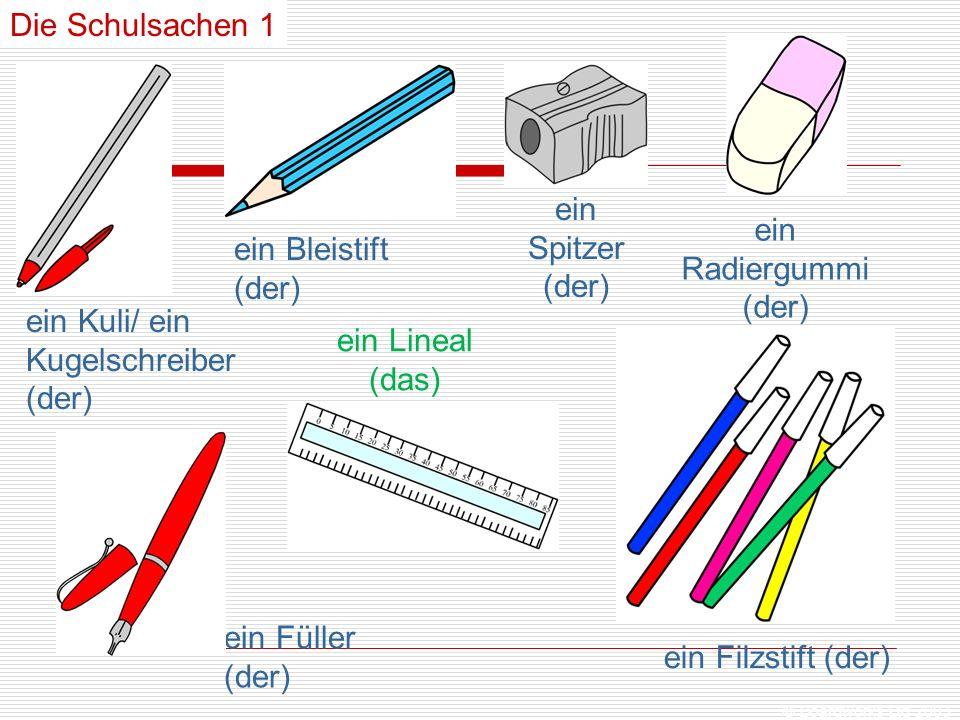 © Boardworks Ltd 2003 Die Schulsachen 1 ein Kuli/ ein Kugelschreiber (der) ein Bleistift (der) ein Radiergummi (der) ein Füller (der) ein Lineal (das) ein Filzstift (der) ein Spitzer (der)