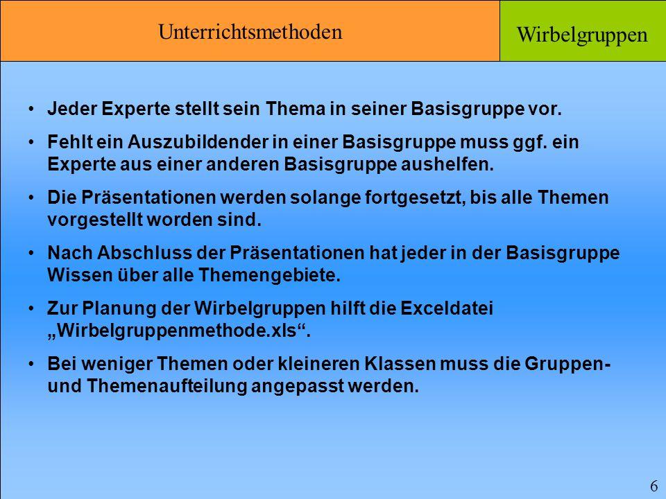 Unterrichtsmethoden Wirbelgruppen 6 Jeder Experte stellt sein Thema in seiner Basisgruppe vor.