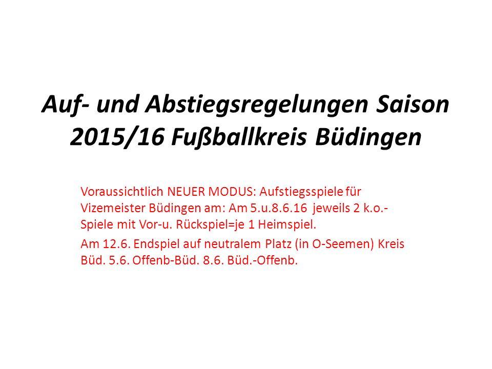 Auf- und Abstiegsregelungen Saison 2015/16 Fußballkreis Büdingen Voraussichtlich NEUER MODUS: Aufstiegsspiele für Vizemeister Büdingen am: Am 5.u.8.6.16 jeweils 2 k.o.- Spiele mit Vor-u.