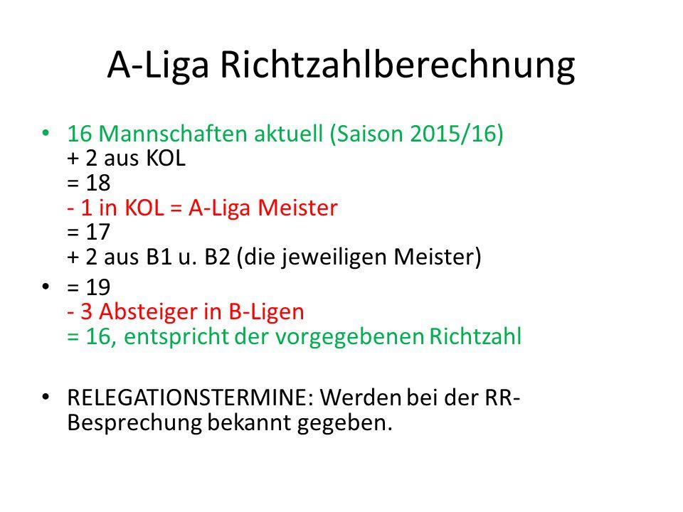 A-Liga Richtzahlberechnung 16 Mannschaften aktuell (Saison 2015/16) + 2 aus KOL = 18 - 1 in KOL = A-Liga Meister = 17 + 2 aus B1 u. B2 (die jeweiligen
