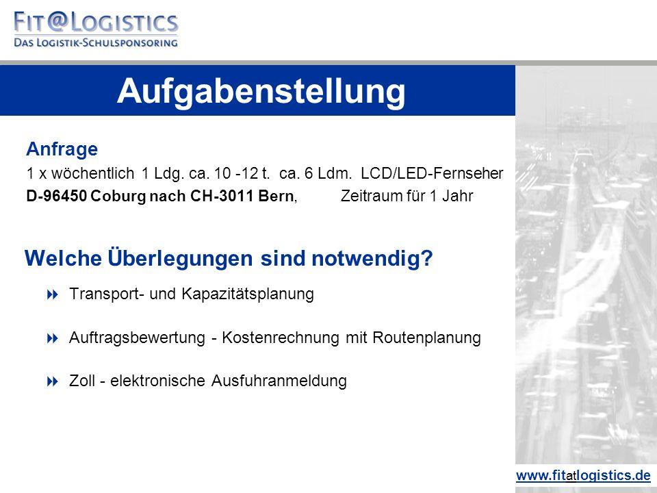Anfrage 1 x wöchentlich 1 Ldg. ca. 10 -12 t. ca. 6 Ldm. LCD/LED-Fernseher D-96450 Coburg nach CH-3011 Bern, Zeitraum für 1 Jahr Welche Überlegungen si