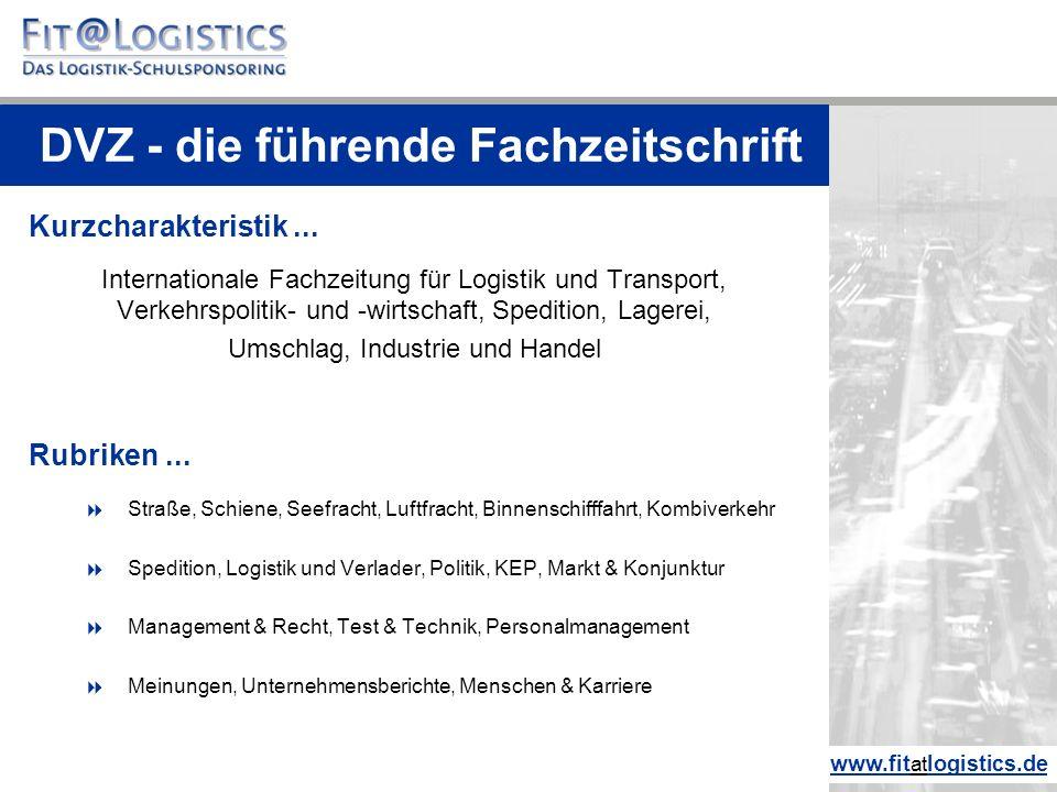 Profil  Deutsche Verkehrs-Zeitung - seit 1947  Zielgruppe: Entscheider aus Logistik, Transport und Verkehr  DVV Media Group GmbH  Verlags- und Redaktionssitz ist Hamburg  Erscheinungsweise 2 x wöchentlich, Dienstag und Freitag  Druckauflage 2014: ca.