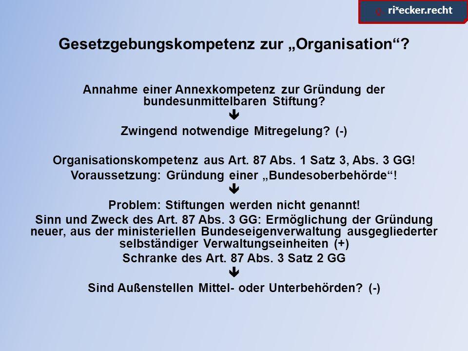 """ϱ. ri x ecker.recht Gesetzgebungskompetenz zur """"Organisation ."""