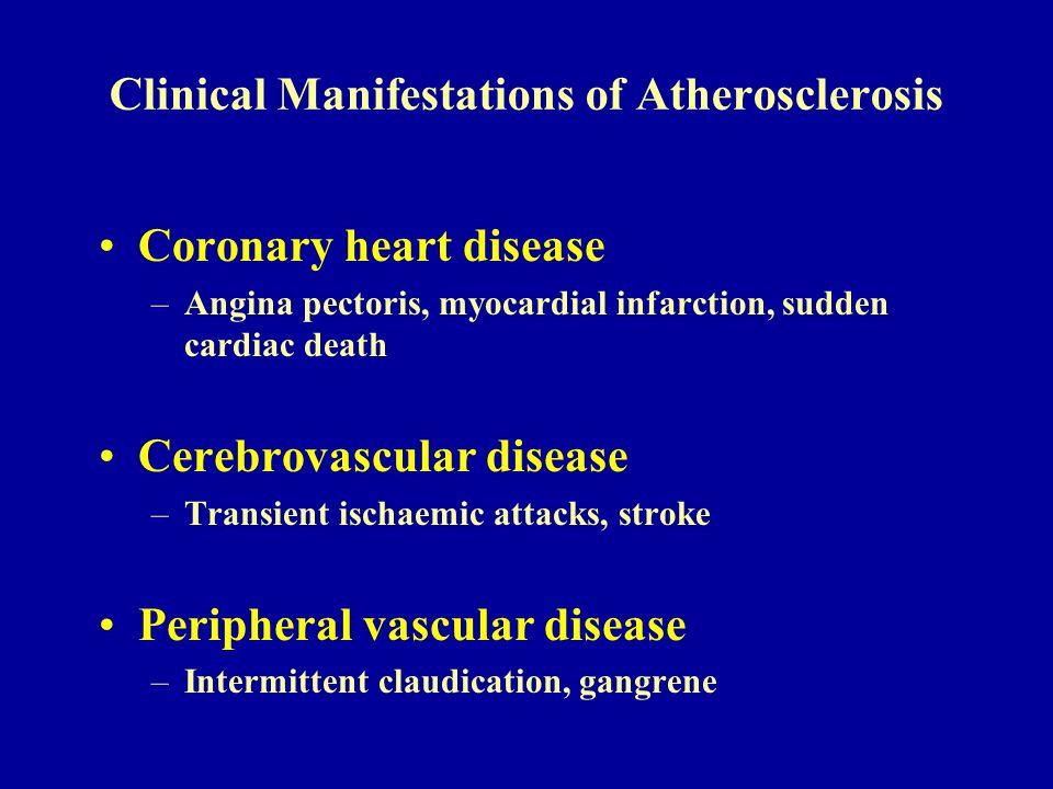 Clinical Manifestations of Atherosclerosis Coronary heart disease –Angina pectoris, myocardial infarction, sudden cardiac death Cerebrovascular diseas