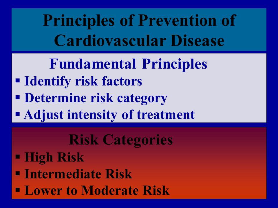 Principles of Prevention of Cardiovascular Disease. Fundamental Principles  Identify risk factors  Determine risk category  Adjust intensity of tre
