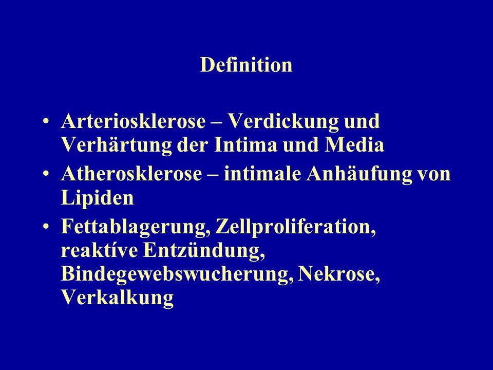 Definition Arteriosklerose – Verdickung und Verhärtung der Intima und Media Atherosklerose – intimale Anhäufung von Lipiden Fettablagerung, Zellprolif