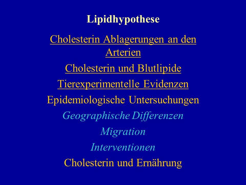 Lipidhypothese Cholesterin Ablagerungen an den Arterien Cholesterin und Blutlipide Tierexperimentelle Evidenzen Epidemiologische Untersuchungen Geogra