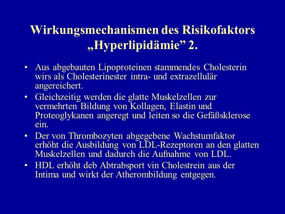 """Wirkungsmechanismen des Risikofaktors """"Hyperlipidämie"""" 2. Aus abgebauten Lipoproteinen stammendes Cholesterin wirs als Cholesterinester intra- und ext"""