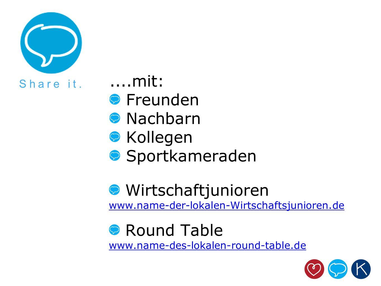 ....mit: Freunden Nachbarn Kollegen Sportkameraden Wirtschaftjunioren www.name-der-lokalen-Wirtschaftsjunioren.de Share it. Round Table www.name-des-l
