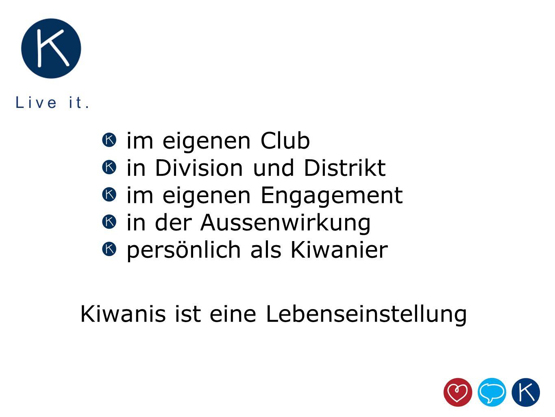 Live it. im eigenen Club in Division und Distrikt im eigenen Engagement in der Aussenwirkung persönlich als Kiwanier Kiwanis ist eine Lebenseinstellun