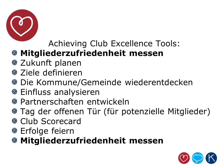 Achieving Club Excellence Tools: Mitgliederzufriedenheit messen Zukunft planen Ziele definieren Die Kommune/Gemeinde wiederentdecken Einfluss analysie