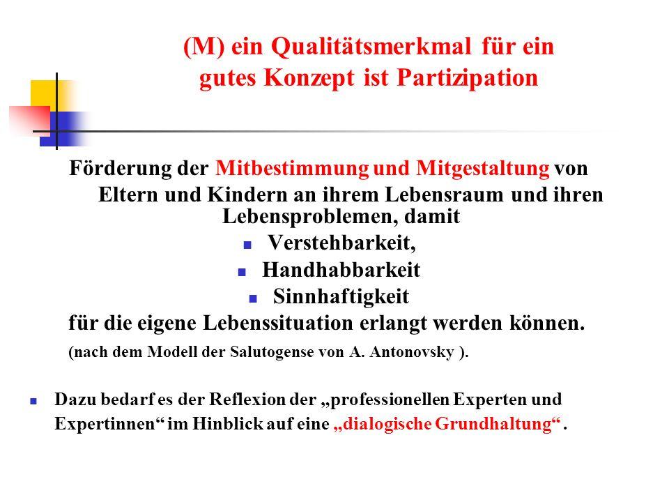 (M) ein Qualitätsmerkmal für ein gutes Konzept ist Partizipation Förderung der Mitbestimmung und Mitgestaltung von Eltern und Kindern an ihrem Lebensr