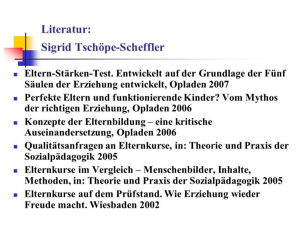 Literatur: Sigrid Tschöpe-Scheffler Eltern-Stärken-Test. Entwickelt auf der Grundlage der Fünf Säulen der Erziehung entwickelt, Opladen 2007 Perfekte