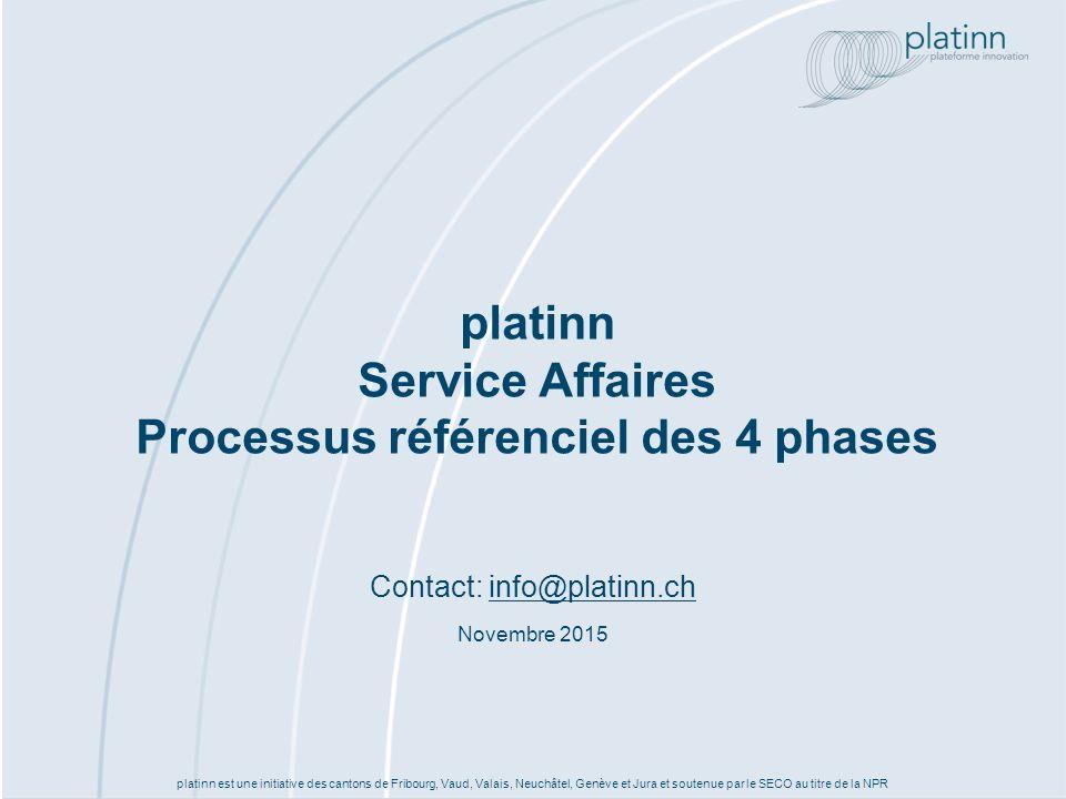 platinn est une initiative des cantons de Fribourg, Vaud, Valais, Neuchâtel, Genève et Jura et soutenue par le SECO au titre de la NPR platinn Service Affaires Processus référenciel des 4 phases Contact: info@platinn.chinfo@platinn.ch Novembre 2015
