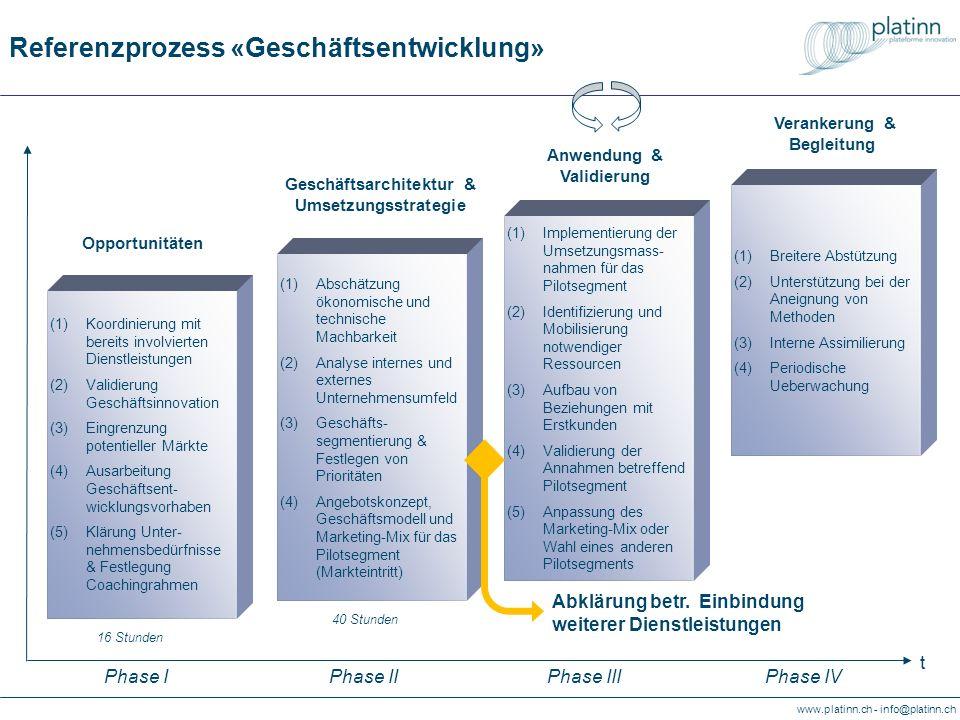 www.platinn.ch - info@platinn.ch Referenzprozess «Geschäftsentwicklung» (1)Abschätzung ökonomische und technische Machbarkeit (2)Analyse internes und