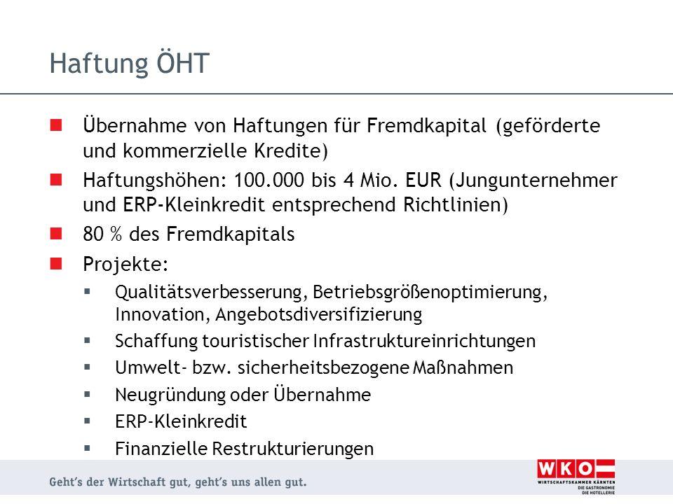 Haftung ÖHT Übernahme von Haftungen für Fremdkapital (geförderte und kommerzielle Kredite) Haftungshöhen: 100.000 bis 4 Mio. EUR (Jungunternehmer und
