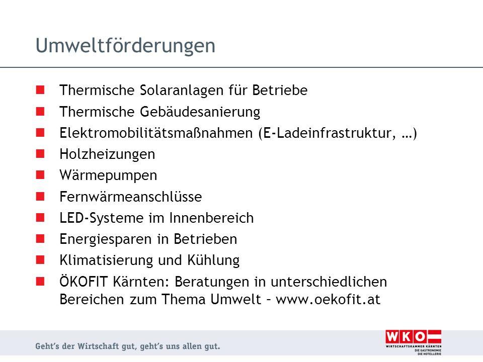 Umweltförderungen Thermische Solaranlagen für Betriebe Thermische Gebäudesanierung Elektromobilitätsmaßnahmen (E-Ladeinfrastruktur, …) Holzheizungen W