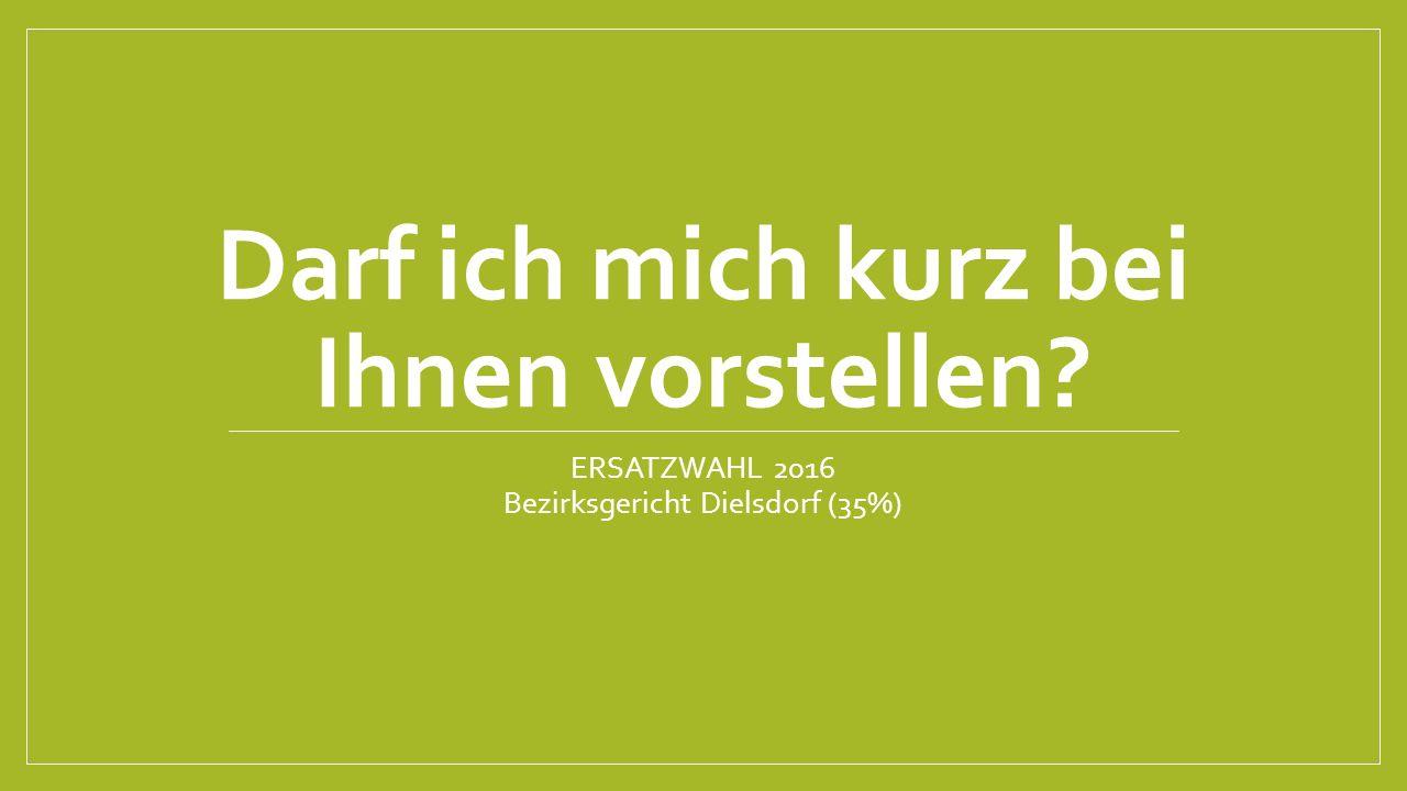 Darf ich mich kurz bei Ihnen vorstellen? ERSATZWAHL 2016 Bezirksgericht Dielsdorf (35%)