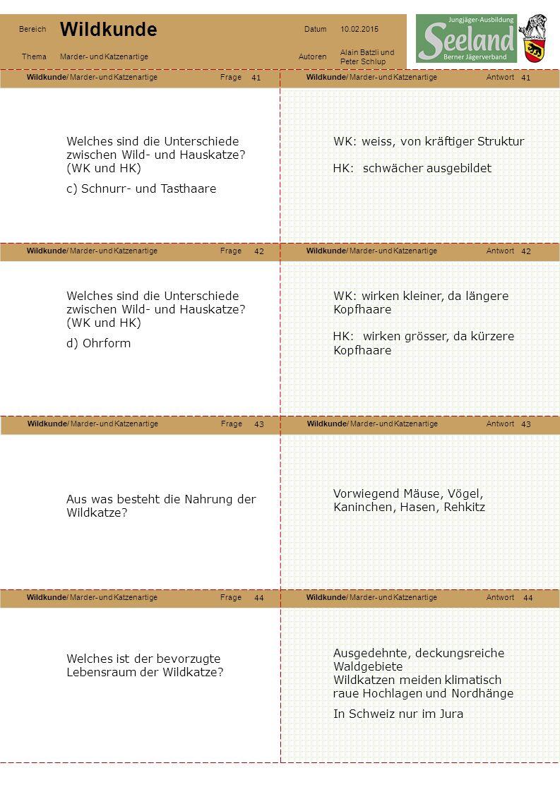 Wildkunde/ Marder- und KatzenartigeFrageWildkunde/ Marder- und KatzenartigeAntwort Wildkunde/ Marder- und KatzenartigeFrageWildkunde/ Marder- und KatzenartigeAntwort Wildkunde/ Marder- und KatzenartigeFrageWildkunde/ Marder- und KatzenartigeAntwort Wildkunde/ Marder- und KatzenartigeFrageWildkunde/ Marder- und KatzenartigeAntwort Bereich Wildkunde Datum10.02.2015 ThemaMarder- und KatzenartigeAutoren Alain Batzli und Peter Schlup 41 42 44 43 42 43 44 Welches sind die Unterschiede zwischen Wild- und Hauskatze.