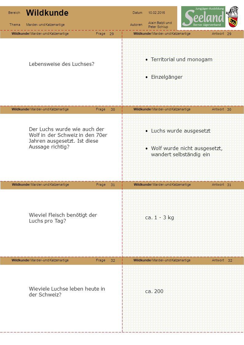 Wildkunde/ Marder- und KatzenartigeFrageWildkunde/ Marder- und KatzenartigeAntwort Wildkunde/ Marder- und KatzenartigeFrageWildkunde/ Marder- und KatzenartigeAntwort Wildkunde/ Marder- und KatzenartigeFrageWildkunde/ Marder- und KatzenartigeAntwort Wildkunde/ Marder- und KatzenartigeFrageWildkunde/ Marder- und KatzenartigeAntwort Bereich Wildkunde Datum10.02.2015 ThemaMarder- und KatzenartigeAutoren Alain Batzli und Peter Schlup 29 30 32 31 30 31 32 Lebensweise des Luchses.