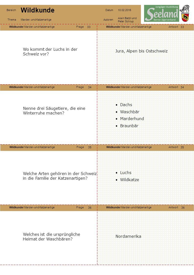 Wildkunde/ Marder- und KatzenartigeFrageWildkunde/ Marder- und KatzenartigeAntwort Wildkunde/ Marder- und KatzenartigeFrageWildkunde/ Marder- und KatzenartigeAntwort Wildkunde/ Marder- und KatzenartigeFrageWildkunde/ Marder- und KatzenartigeAntwort Wildkunde/ Marder- und KatzenartigeFrageWildkunde/ Marder- und KatzenartigeAntwort Bereich Wildkunde Datum10.02.2015 ThemaMarder- und KatzenartigeAutoren Alain Batzli und Peter Schlup 33 34 36 35 34 35 36 Wo kommt der Luchs in der Schweiz vor.