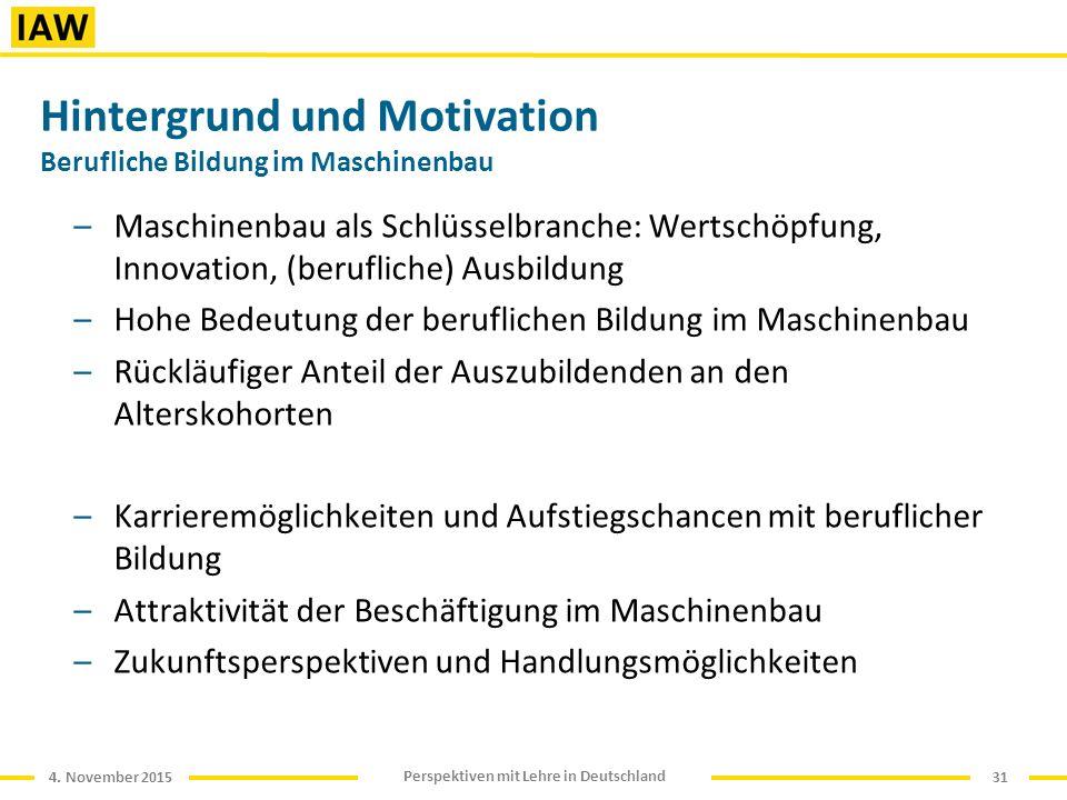 4. November 2015 Perspektiven mit Lehre in Deutschland Hintergrund und Motivation Berufliche Bildung im Maschinenbau –Maschinenbau als Schlüsselbranch