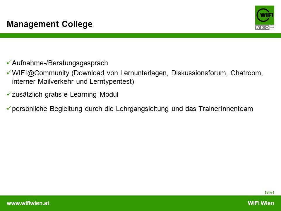 www.wifiwien.atWIFI Wien Management College Aufnahme-/Beratungsgespräch WIFI@Community (Download von Lernunterlagen, Diskussionsforum, Chatroom, inter