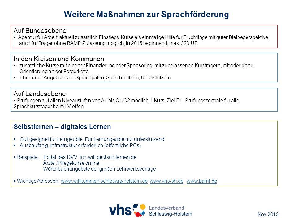 Weitere Maßnahmen zur Sprachförderung Auf Bundesebene  Agentur für Arbeit: aktuell zusätzlich Einstiegs-Kurse als einmalige Hilfe für Flüchtlinge mit