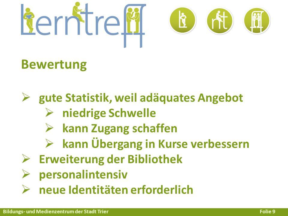 Bildungs- und Medienzentrum der Stadt TrierFolie 10 Ist der Lerntreff eine neue Lernwelt.