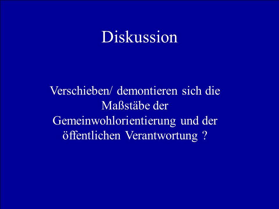 Diskussion Verschieben/ demontieren sich die Maßstäbe der Gemeinwohlorientierung und der öffentlichen Verantwortung ?