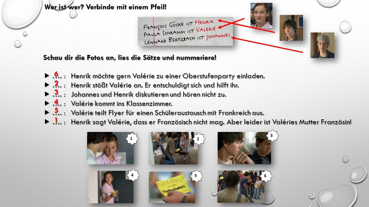 Wer ist wer? Verbinde mit einem Pfeil! Schau dir die Fotos an, lies die Sätze und nummeriere!  …. :Henrik möchte gern Valérie zu einer Oberstufenpart