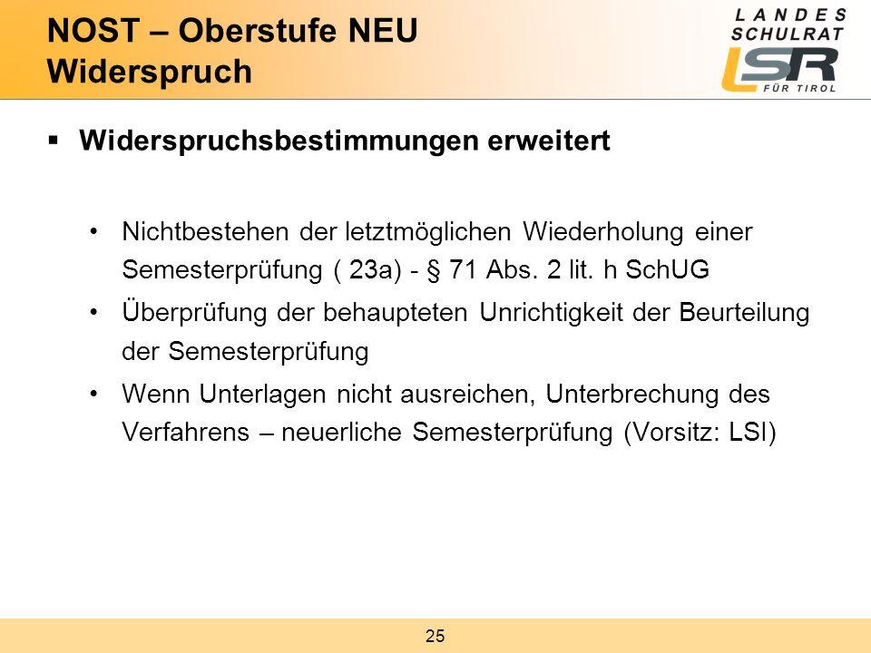 25  Widerspruchsbestimmungen erweitert Nichtbestehen der letztmöglichen Wiederholung einer Semesterprüfung ( 23a) - § 71 Abs. 2 lit. h SchUG Überprüf