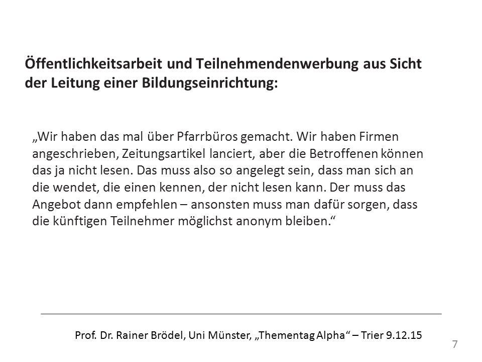 Literatur BMBF/ KMK: Vereinbarung über eine gemeinsame nationale Strategie für Alphabetisierung und Grundbildung Erwachsener in Deutschland 2012 – 2016.