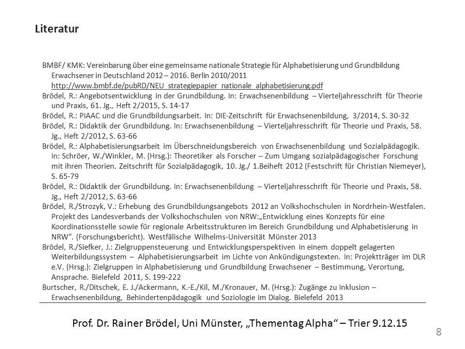 """Literatur Egloff, B.: Biographische Muster """"funktionaler Analphabeten – Eine biographieanalytische Studie zu Entstehungsbedingungen und Bewältigungstrategien von """"funktionalem Analphabetismus , Frankfurt/Main 1997 Egloff, B.: Biografieforschung und Literalität."""
