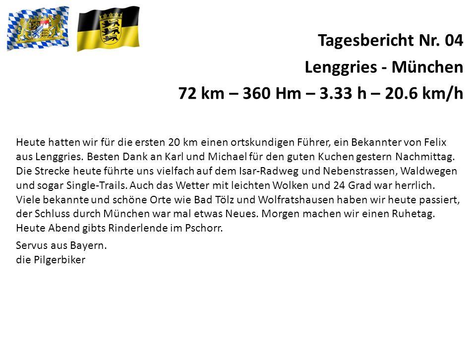 Tagesbericht Nr.05 München - Ruhetag Wir genossen den freien Tag bei sonnigen Wetter.
