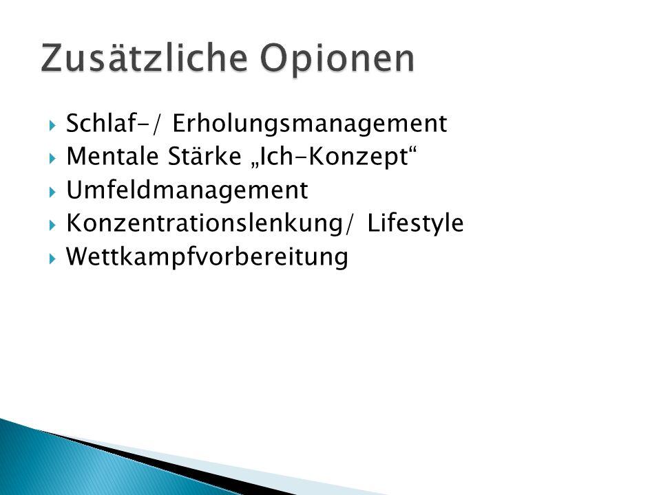""" Schlaf-/ Erholungsmanagement  Mentale Stärke """"Ich-Konzept  Umfeldmanagement  Konzentrationslenkung/ Lifestyle  Wettkampfvorbereitung"""