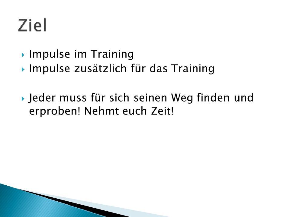  Impulse im Training  Impulse zusätzlich für das Training  Jeder muss für sich seinen Weg finden und erproben.