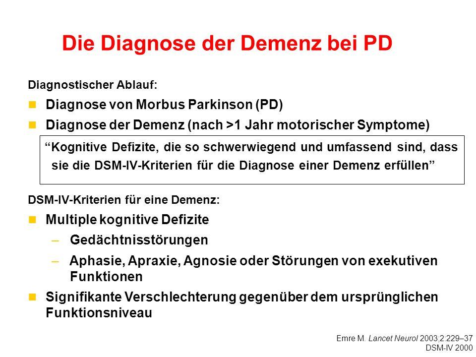 Die Diagnose der Demenz bei PD Diagnostischer Ablauf: Diagnose von Morbus Parkinson (PD) Diagnose der Demenz (nach >1 Jahr motorischer Symptome) DSM-IV-Kriterien für eine Demenz: Multiple kognitive Defizite – Gedächtnisstörungen – Aphasie, Apraxie, Agnosie oder Störungen von exekutiven Funktionen Signifikante Verschlechterung gegenüber dem ursprünglichen Funktionsniveau Kognitive Defizite, die so schwerwiegend und umfassend sind, dass sie die DSM-IV-Kriterien für die Diagnose einer Demenz erfüllen Emre M.
